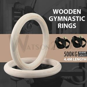 Wooden Gymnastic Rings Olympic Strength Training Gym Rings Pull-ups Crossfit US