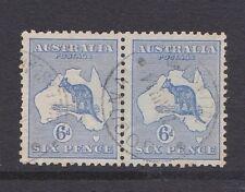 Australia 1913 SG9 6d ultramarine Roo Fine Used Pair cds GOODNA Queensland