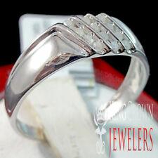MENS NEW 10K  WHITE GOLD 100% REAL GENUINE .12CT DIAMOND WEDDING RING BAND S10.5