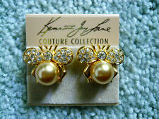 Kenneth Jay Lane Crystal Bumble Bee Gold Pearl Clip Earrings