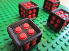 LEGO Sale 4 x Red / Black Dice Cubes 2 x 2 x 2 with Rubber Surround - 24 pins
