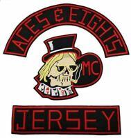 ACES & EIGHTS JERSEY MC MOTORBIKE 35CM IRON ON EMBROIDERED 3 PCS SET