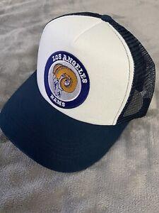 THROWBACK CLASSIC RAM LOGO LA Los Angeles Rams Trucker Hat Cap Snapback NEW