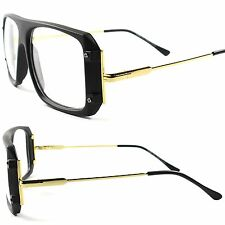 Vintage Retro 80's Large Oversized Square Hip Hop Mens Womens Clear Lens Glasses