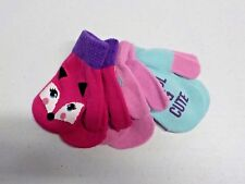 Girls Size 9-18 Mos Berkshire Fashions Cute Pink/Mint Mittens 3 Pack Nwt #10853