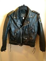 Harley Davidson Mens Black Leather Biker Jacket Size 42 Regular 70s Bomber First