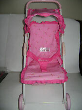 Retired American Girl Bitty Baby Stroller Pink Flowers Fold Up Pink Wheels CUTE