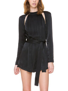 C/MEO Collective Can't Resist Playsuit Black cut out Sholder silky romper Cameo