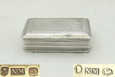 RARE WILLIAM IV HM STERLING SILVER TABLE snuff box 1836 Nathaniel Mills