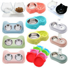 Non-slip Cat Double Bowls w/Raised Stand Pet Food Water Bowl Cats Dog Feeder NEW