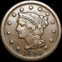 1848 Braided Hair Large Cent Penny ---- Nice Type Coin ---- #H425