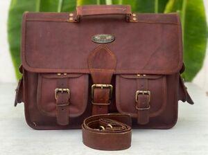 Men Leather Shoulder Messenger Satchel Laptop Classic Collage School Travel Bag