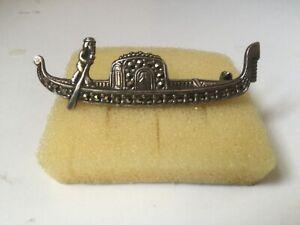 Venetian Gondola Brooch 825 Silver with Marcasite