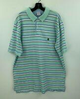 Brooks Brothers XL Polo Shirt Mens Short Sleeve Original Green Striped A20-12