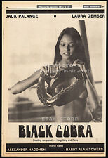 BLACK COBRA__Original 1976 Trade AD promo / poster__LAURA GEMSER__JACK PALANCE