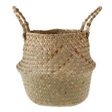Seagrass Flower Belly Basket Storage Holder Home Plant Pot Laundry Organizer Bag