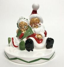 Vintage Santa Mrs. Claus Christmas Red White Chalkware Figure