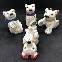 Vintage DAVID FRYKMAN Complete set of 4 White POLAR BEAR Cubs Playful DF 1144