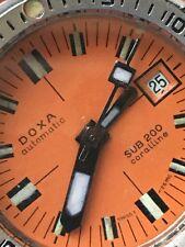 Rare Doxa Vintage Diver Sub 200 Caroline Swiss Automatic Ladies Watch Orange