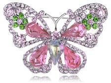 Fashion Rose Pink Peridot Green Crystal Rhinestone Butterfly Fashion Pin Brooch