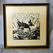 HANDCRAFTED PRINT/LINO/WOOD CUT/SCRAPERBOARD PICTURE WATER BIRDS signed J BATKIN