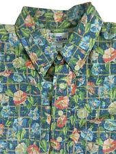 Reyn Spooner Reverse Print Multi Color Floral Leaves 3 Button Hawaiian Shirt L