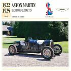 Aston Martin Bamford & Martin Course 1922 GB/UK CAR VOITURE CARTE CARD FICHE