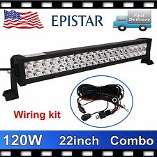 22'' 120W LED Light Bar Flood Spot Driving Truck Lamp 4X4 Jeep+Wiring Kit 14V DC