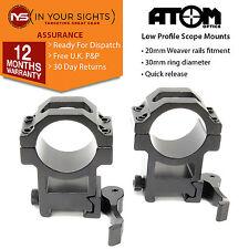 Quick release medium profile weaver rifle scope mounts / 30mm scope rings