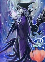 """ACEO Art Painting Pictures Acrylic Oils Past 2,5""""x3.5"""" V.Vlasiuk Halloween Witch"""