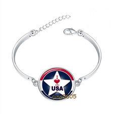 I Love the USA Bracelet Photo Glass Cabochon Tibet silver Bracelets
