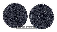black diamond .25 carat 10K black gold unisex stud earrings screwback men