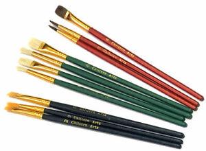 Artist Paint Brushes 10 Pointed Round Flat Professional Art Craft Set Acrylic UK