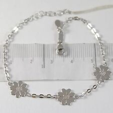 WHITE GOLD BRACELET 750 18K WITH THREE DAISIES, FLOWERS, LENGTH 18 CM