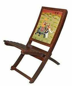 Ethnic Handmade Solid Wood Folding Relax Chair with Hand Royal Painting