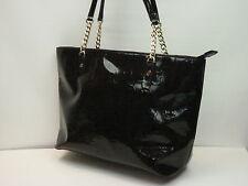 Michael Kors Jet Set Monogram Mirror Black Leather Tote Shoulder Handbag 5159