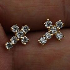 Beauty Cross White CZ Jewelry Yellow Gold Filled Stud Woman Gift Earrings H2814