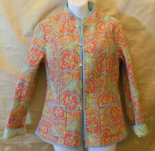 Lord & Taylor quilted reversible pale paisley tailored Jacket silk cotton blend