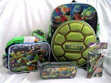 "Ninja Turtles Large 16"" Backpack Shell Pocket,Lunchbox,Pencil Case,&Stationary"