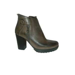 Ankle Boot Heeled Shoes Women's Brown Made IN Italy