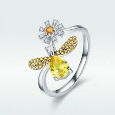 Latest 925 Sterling Silver Open Finger Ring Bee & Daisy With Shining CZ Jewelry