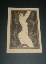 VINTAGE WOOD CUT, WOOD BLOCK PRINT,  EVE, NUDE WOMAN WITH SNAKE, MATTED