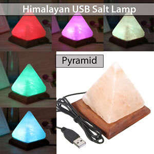 Himalayan Pink USB Pyramid Salt Lamp Rock Crystal Healing Ionizing Night Light