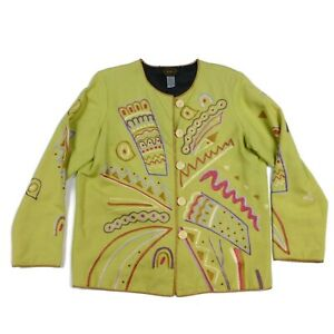 Allure Women's M Green Colorful Embroidered Boho Art To Wear Cotton Jacket