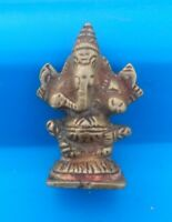 Antique Old Rare Brass Hand Carved Hindu God Ganesha Miniature Figurine Statue