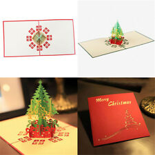Vivid 3D Christmas Tree Greeting Card Hollow Out Postcard Graduation Gift PT