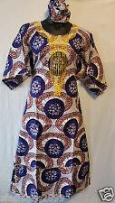 "Women African wax Fabric Cotton Long Dress W/ Scarf Maxi Ethnic 54"" Print #002"