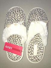 IZOD Ladies Women's Slippers Scuffs New Leopard Print Pink Beige Gray Size S M L