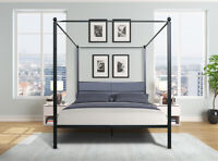 Queen Canopy Black Metal Bed Frame with Upholstered headboard and Four Posters
