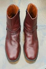 E. T. Wright Brown Leather Harness Boots 12AA Side Zipper Nominal Wear